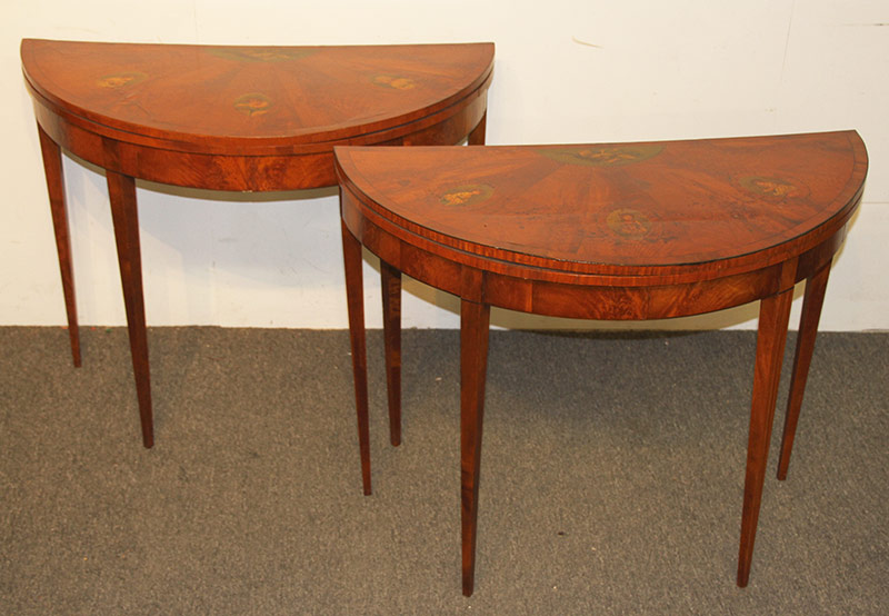 11. Pr. Edwardian Decorated Satinwood Card Tables. $885
