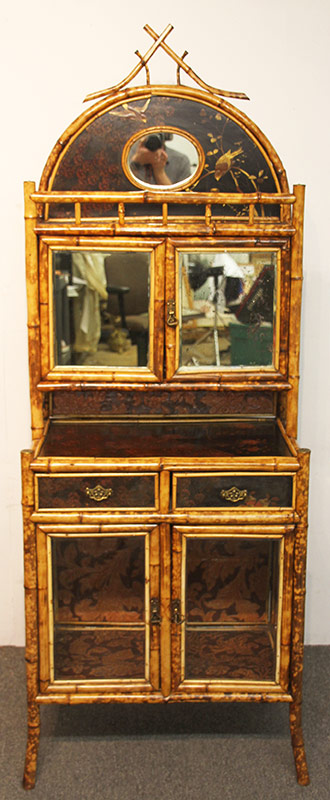 12. Victorian Lacquered and Bamboo Vitrine. $590