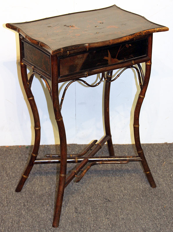 13. Victorian Lacquered Bamboo Sewing Stand. $110.70