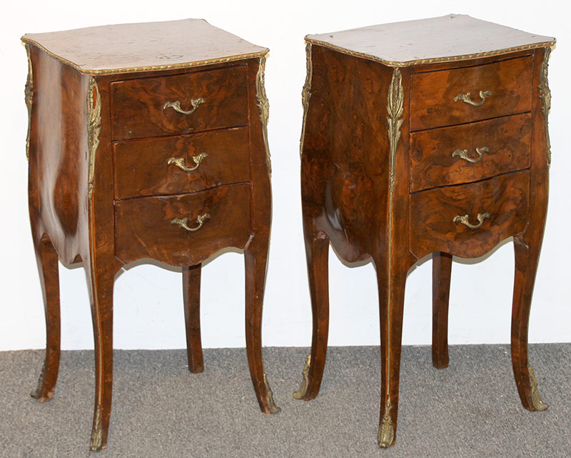 14. Pair of French Louis XV Style Bombé Nightstands. $215.25