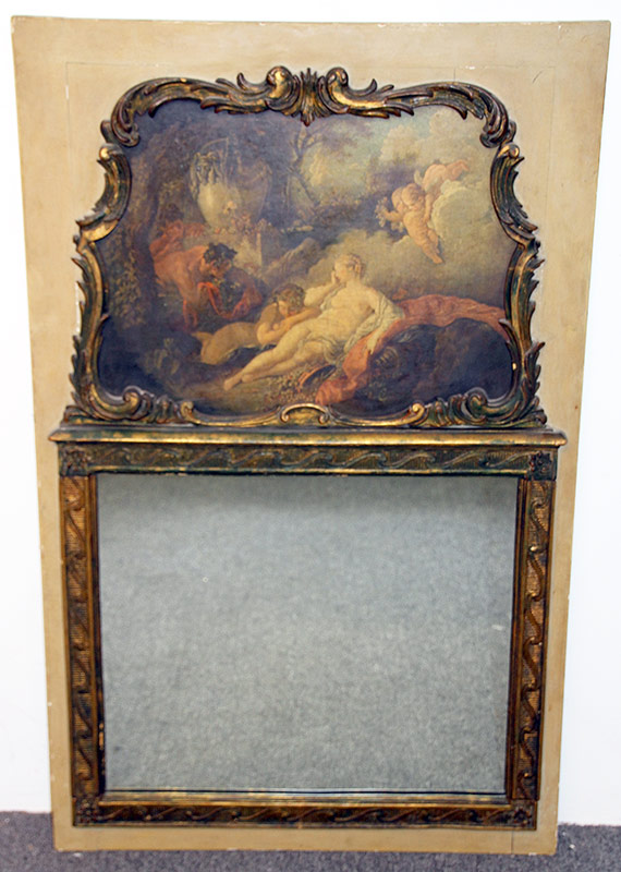 16. After Boucher, Painted Trumeau Mirror by Borghese. $276.75