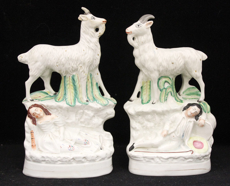 17. Pr. Staffordshire Figural Groups: Goats & Figures. $383.50