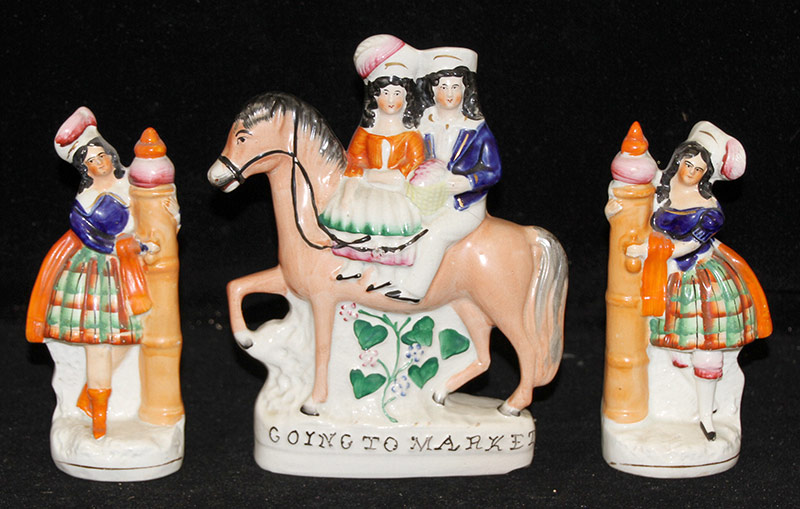 19. 3-pc. Staffordshire Group: Girls; Going To Market. $49.20