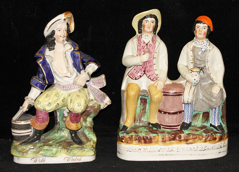 21. 2 Staffordshire Figural Groups: Will Watch, etc. $70.80