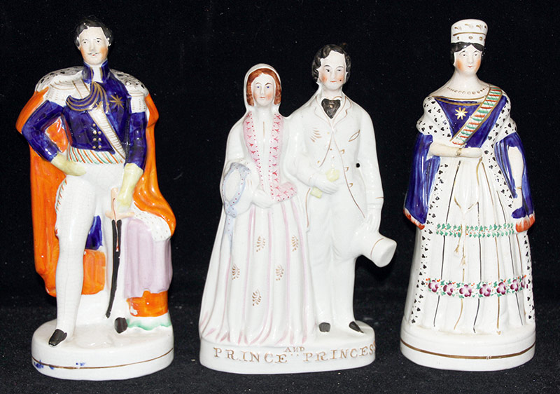 24. 3 Staffordshire Figs: King, Queen, Prince/Princess. $123.00