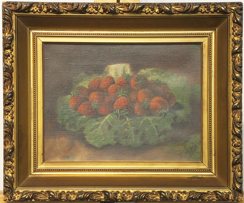 29. 20th C. Oil/Canvas, Still Life, Strawberries, \'06. $84.87