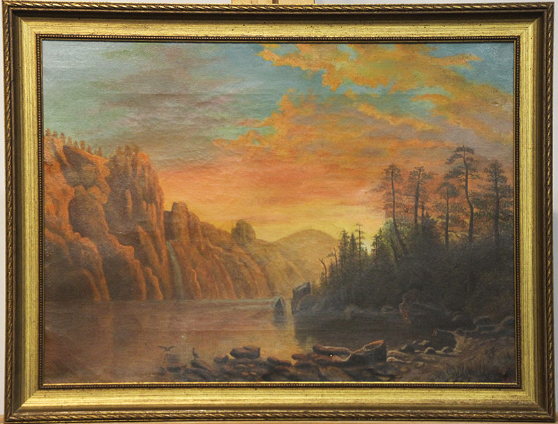 30. 19th C. Oil/Canvas, Lake Landscape at Sunset. $246.00
