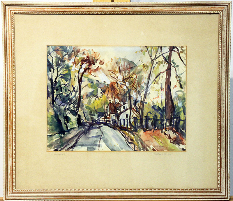 34. Walter Emerson Baum Watercolor, Lumberton. $472