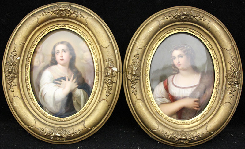 39. Pair of KPM Porcelain Plaques, Portraits of Women. $1,045.50