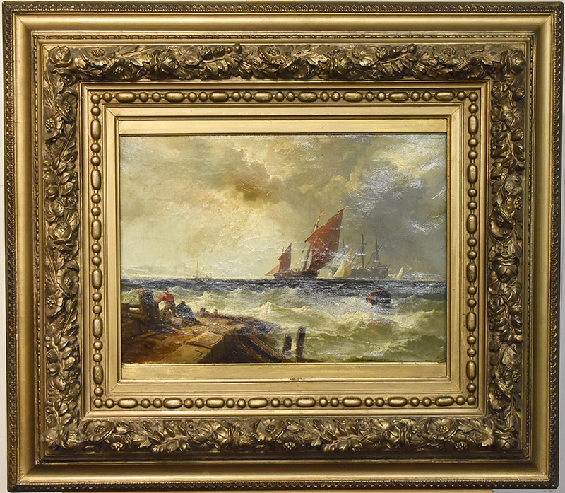 40. Unsigned 19th C. Oil/Canvas, Seascape. $531