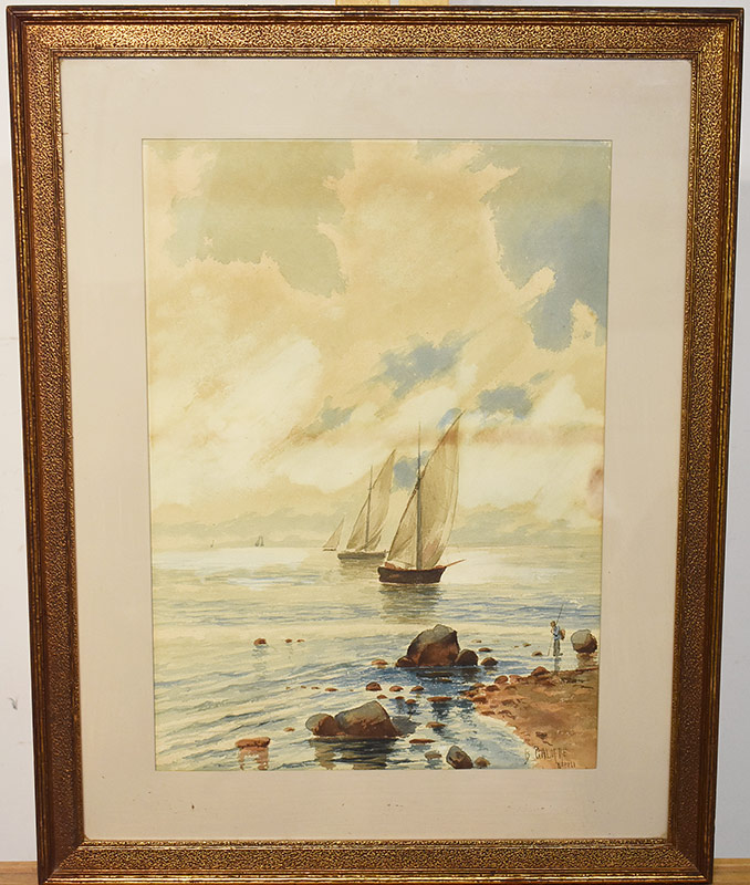 43. Baldomero Galofre Y Gimenez. Watercolor, Seascape. $177