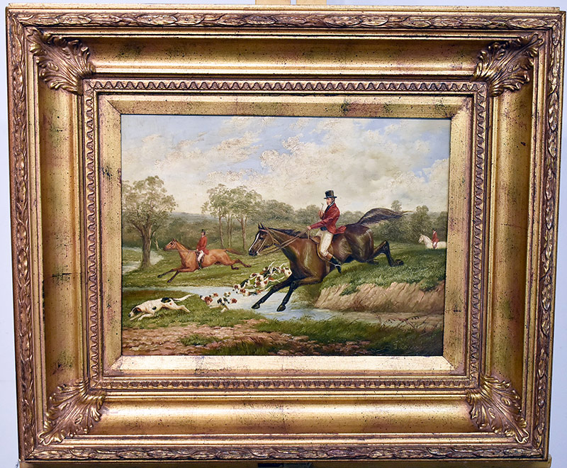 "44. 20th C. Oil/Panel, Hunt Scene, Signed ""J. Cassidy\"". $295"