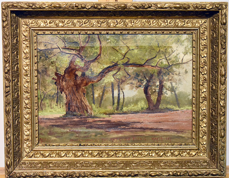 51. Signed Adams. Oil/Canvas, Forest Landscape, 1887. $70.80