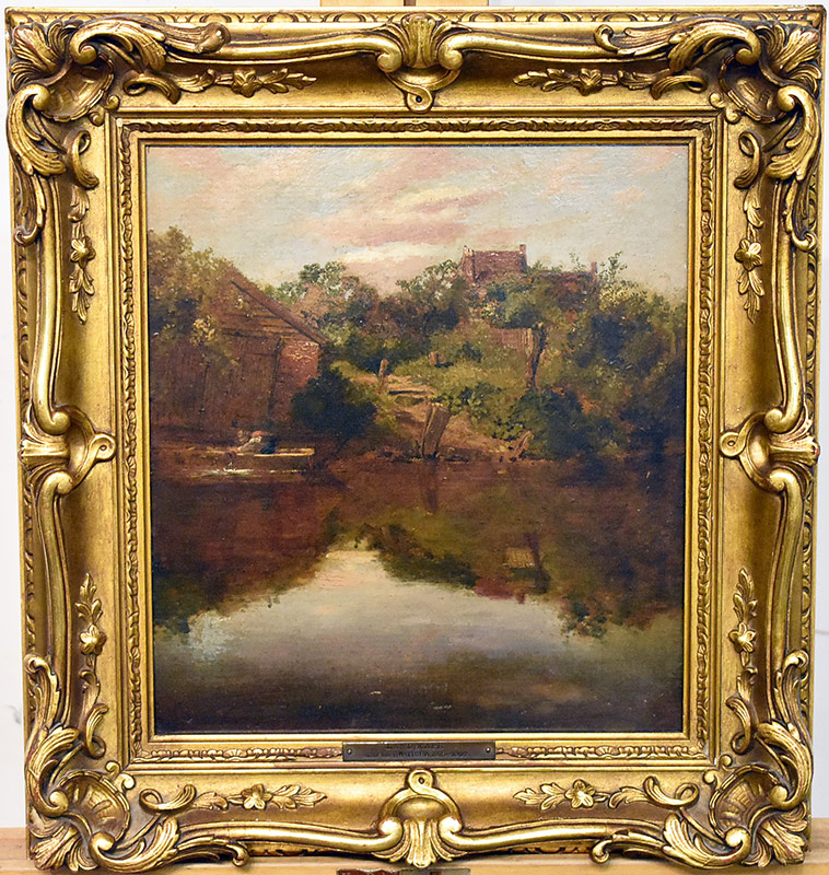 52. Attrb. George F. Watts. Oil/Panel, Lake Landscape. $649
