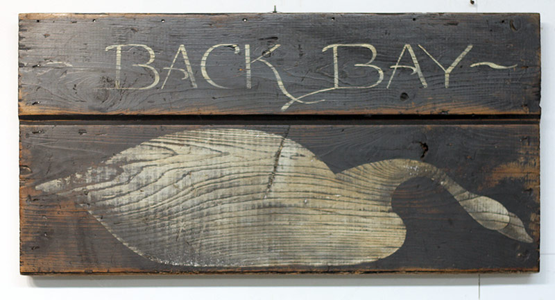 59. Folk Art Painted Wood Sign, Back Bay. $206.50