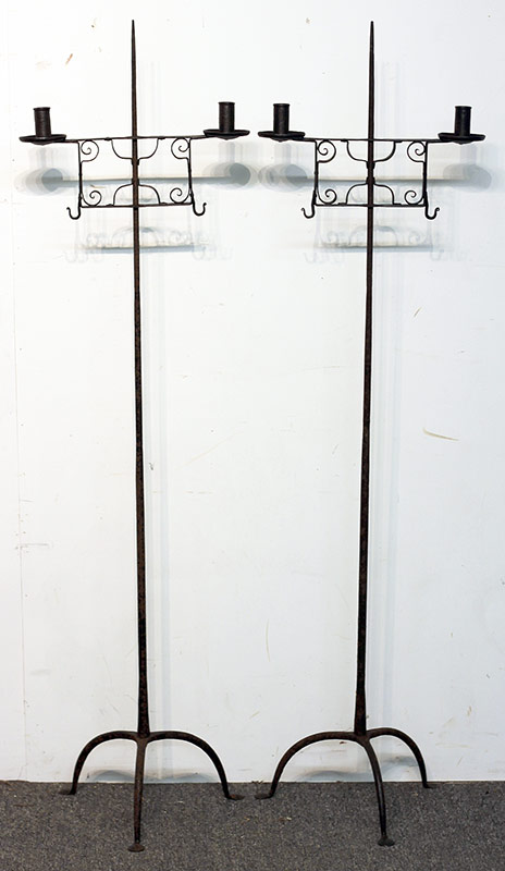 60. Pr.  Wrought Iron Adjustable Candlestands. $767