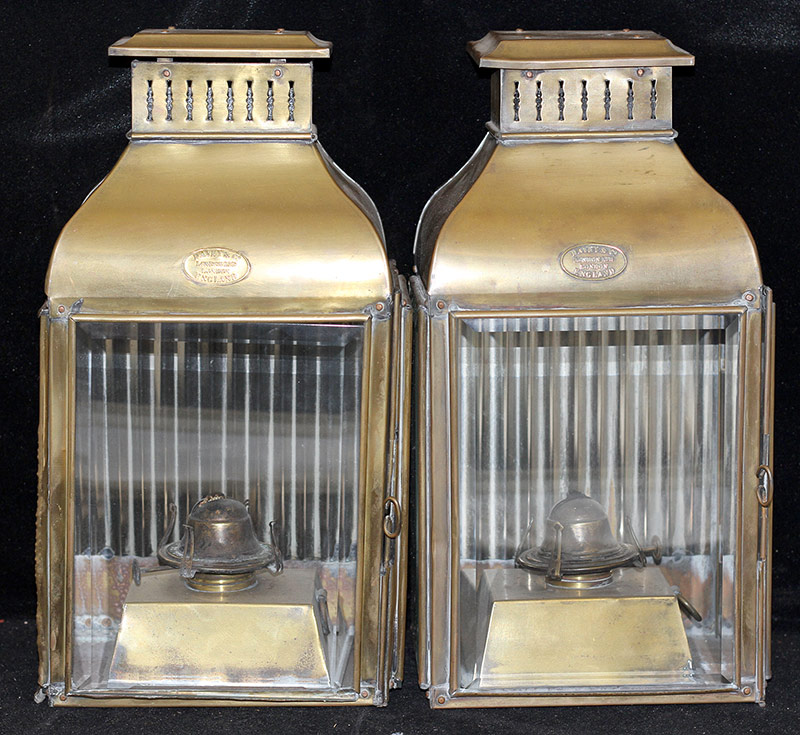 62. Pair of Davey & Co. Brass Ship\'s Lanterns. $369