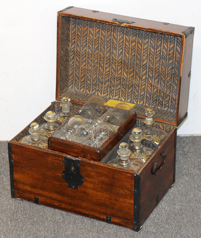 66. 19th C. Oak Cellarette Fitted with Decanters, etc. $383.50