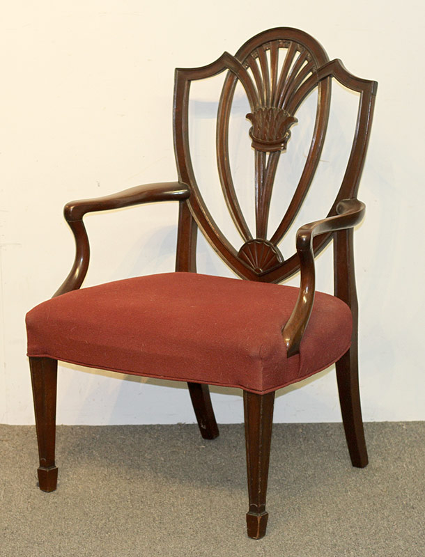 73. Federal Mahogany Shield-Back Armchair. $47.20