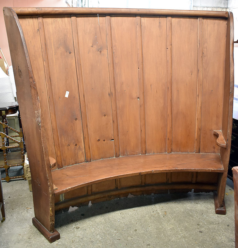 77. 19th C. English Pine Tavern Settle. $369