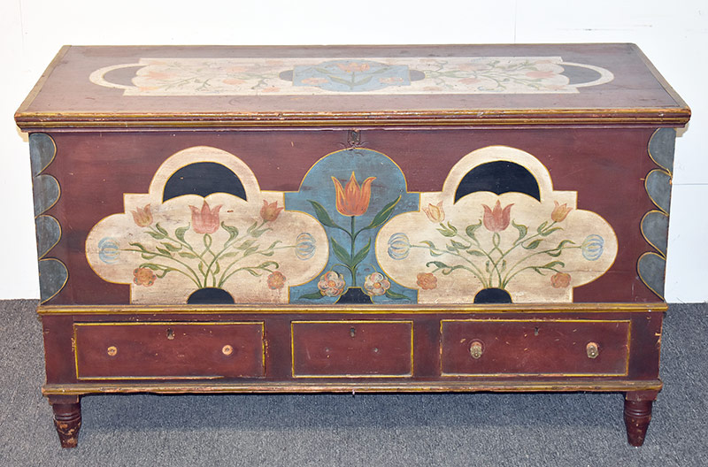83. Paint-decorated Pine Blanket Chest. $738