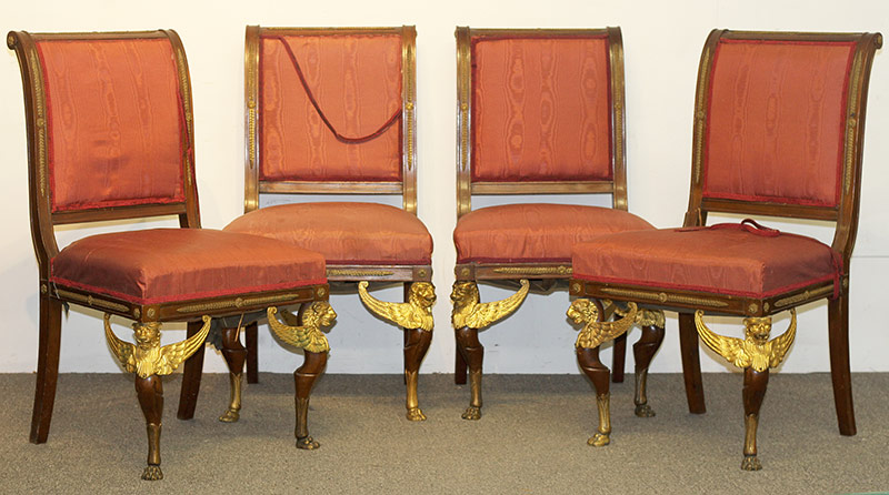 87. Four French Empire-style Mahogany Chairs. $522.75