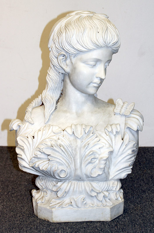 90. White Marble Bust of a Maiden. $799.50