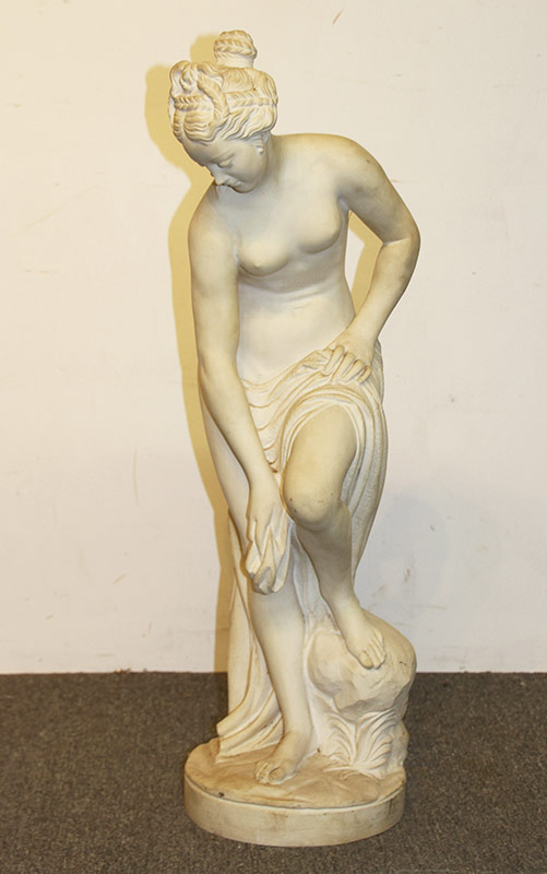 91. White Marble Statue, Female Nude. $2,242