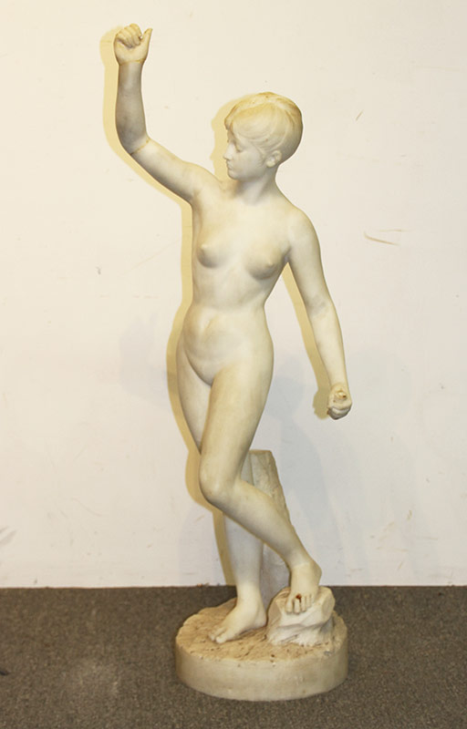92 White Marble Statue, Female Nude. $2,360