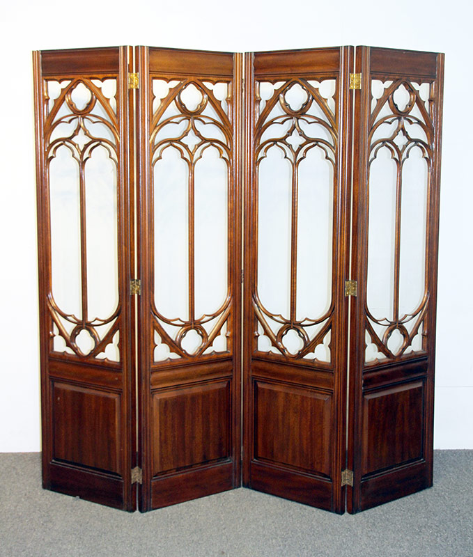 111. Maitland Smith Mahogany & Glass 4-Panel Screen. $799.50