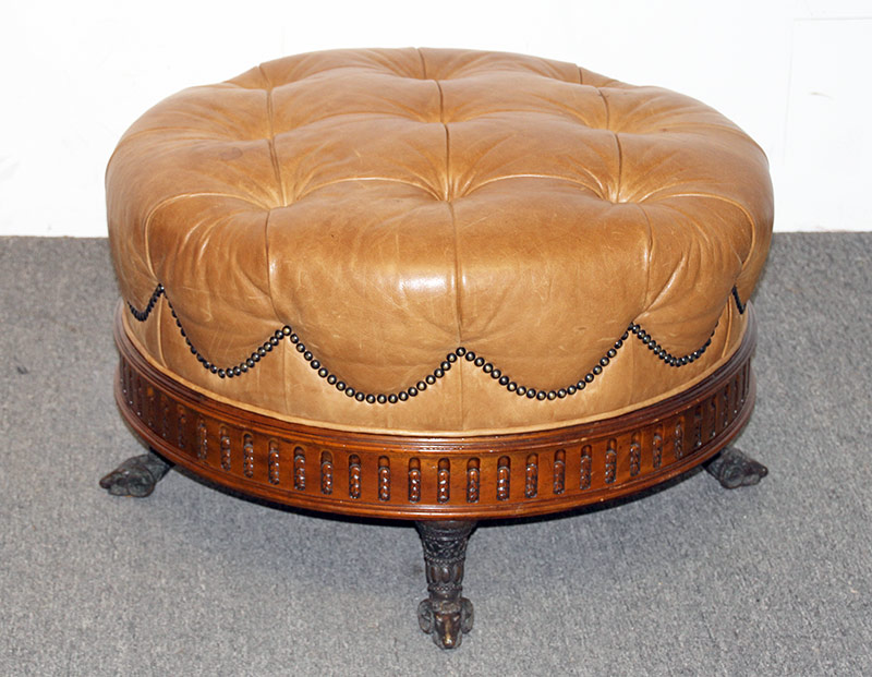 112. Maitland Smith Regency-style Leather Ottoman. $584.25