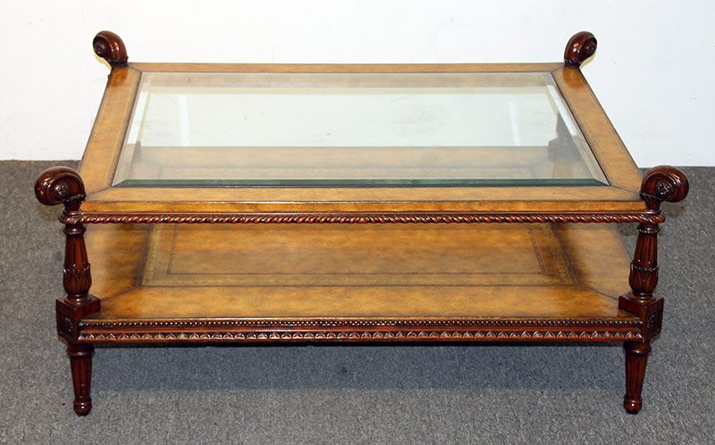 113. Maitland Smith Glass-Inset Coffee Table. $354