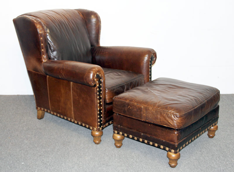116. Wesley Hall Leather Lounge Chair and Ottoman. $649.00