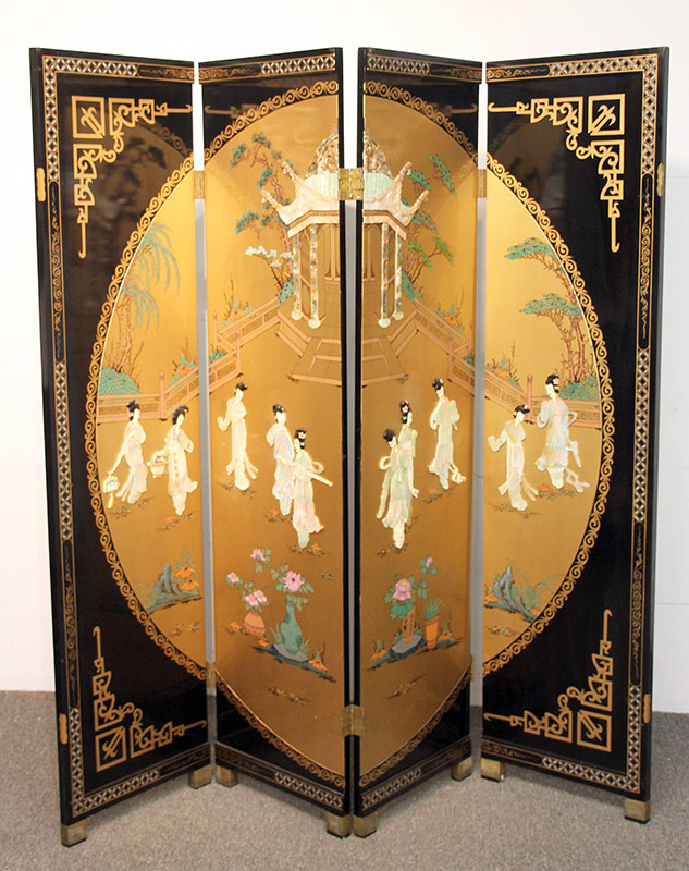122A. Chinese Four Panel Screen. $70.80