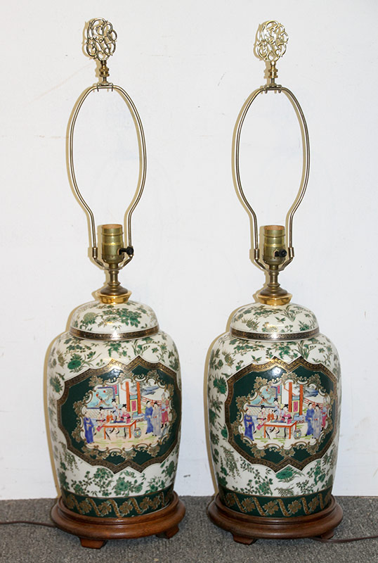 123. Pr. Chinese Rose Medallion Table Lamps. $147.50