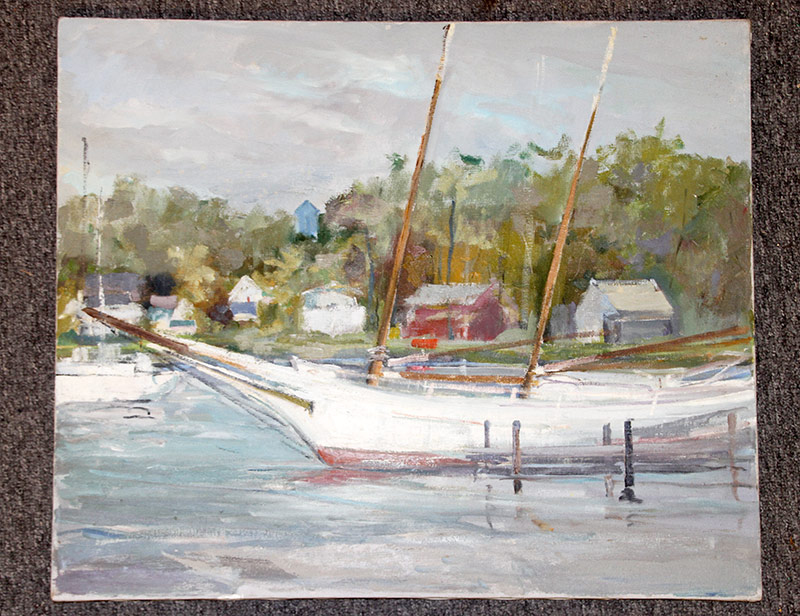 134. Joseph Casalane. Oil/Canvas, Sailboat. $98.40
