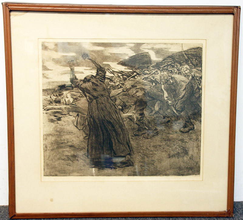 137C. Kathe Kollwitz. Etching & Aquatint, Outbreak. $584.25