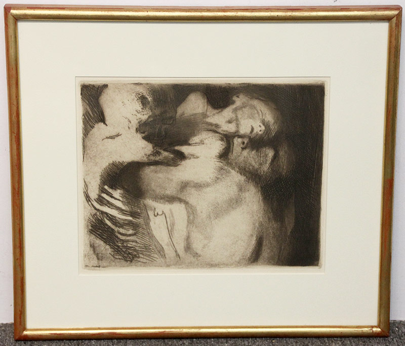 137D. Kathe Kollwitz. Etching, Death, Woman, and Child. $501.50