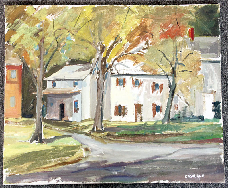 137. Joseph Casalane. Oil/Canvas, Landscape w/Bldg. $59