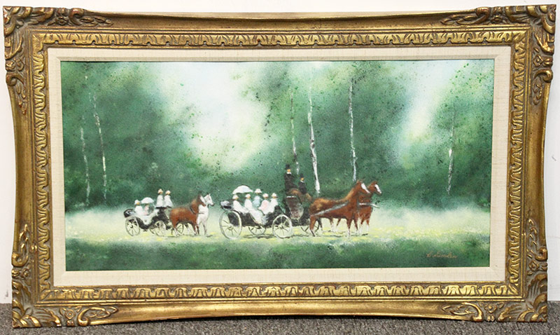 138. Carol Simkin. Enamel on Copper, Carriage Scene. $106.20