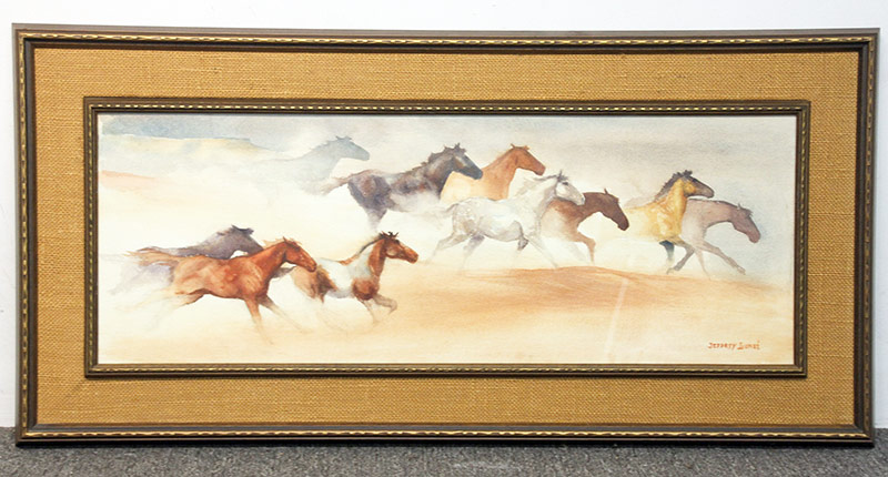 139. Jeffrey Lunge. Watercolor on Paper, Caballos. $82.60