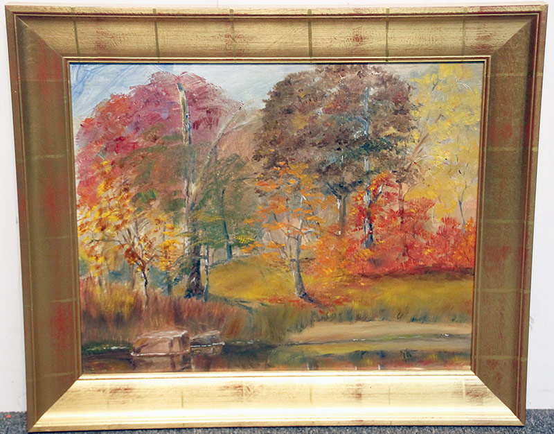 142. Unsigned Oil/Panel, Autumn Landscape. $110.70