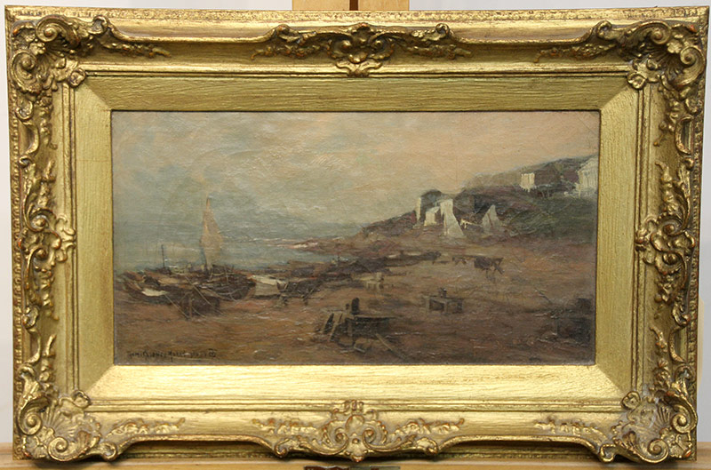 150. Thomas Sidney Moran. Oil/Cnvs, Harbor Scene, 1906. $615