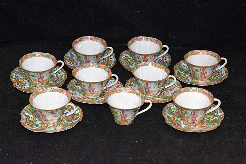 379. 8 Chinese Export Rose Medallion Cups & Saucers. | $123