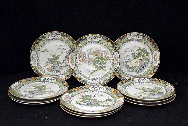 381. Twelve Chinese Famille Rose Porcelain Plates. | $1,230