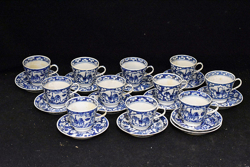 382. 11 Chinese Blue & White Porcelain Cups & Saucers. | $799.50