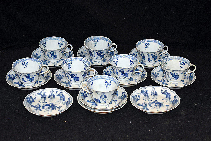 383. 8 Chinese Blue & White Porcelain Cups & Saucers. | $799.50