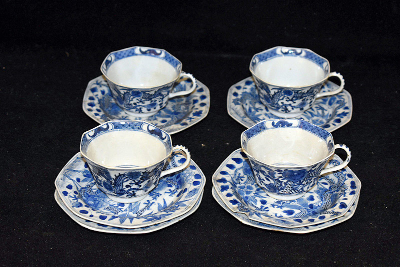 384. 4 Chinese Blue & White Porcelain Cups & Saucers. | $153.75
