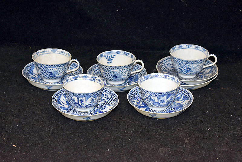 385. 5 Chinese Blue & White Porcelain Cups & Saucers. | $338.25