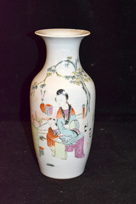 391. Chinese Famille Rose Porcelain Vase w/Figural Decoration. | $246